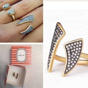 Stella & Dot Pave Horn Ring M/L NEW